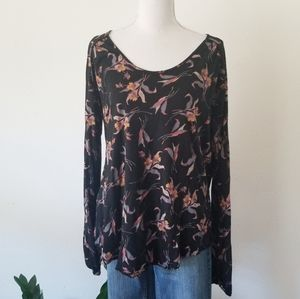 Free People Elsa Open Back Jersey Floral Blouse L